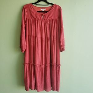 Tiered Peasant Style Midi Dress